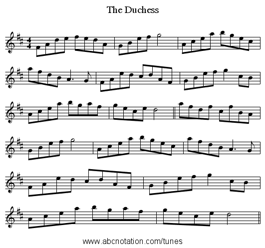 The Duchess - staff notation