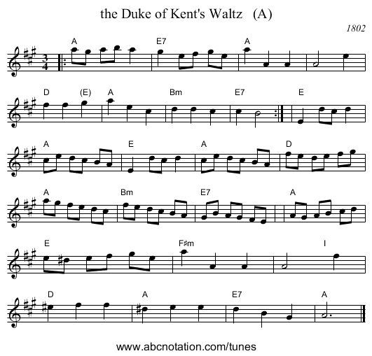 the Duke of Kent's Waltz   (A) - staff notation