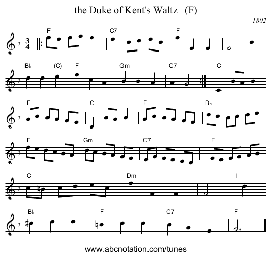 the Duke of Kent's Waltz   (F) - staff notation