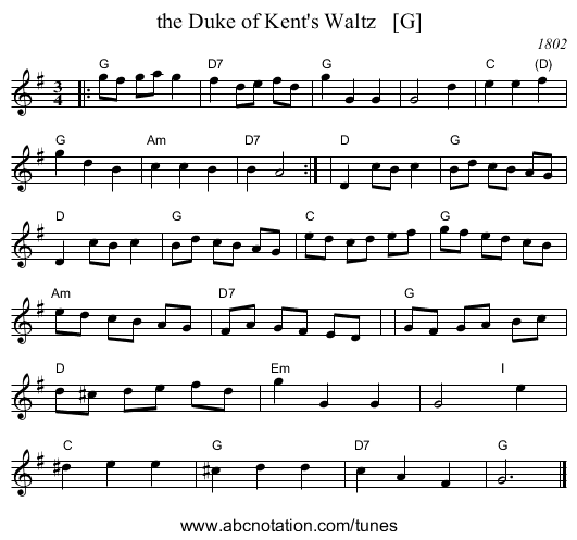 the Duke of Kent's Waltz   [G] - staff notation