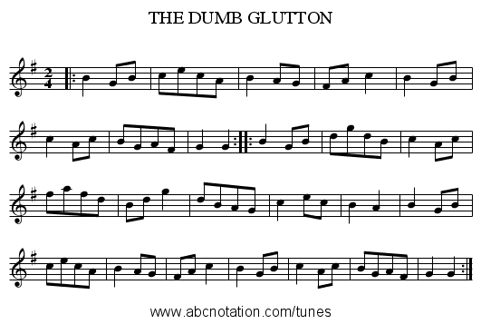 THE DUMB GLUTTON - staff notation