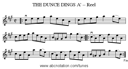 THE DUNCE DINGS A' -- Reel - staff notation
