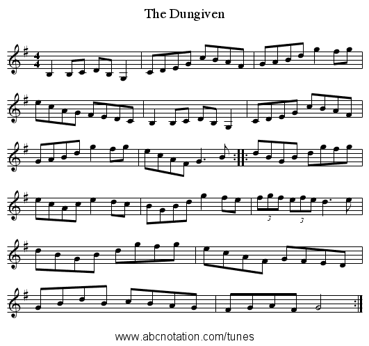 The Dungiven - staff notation