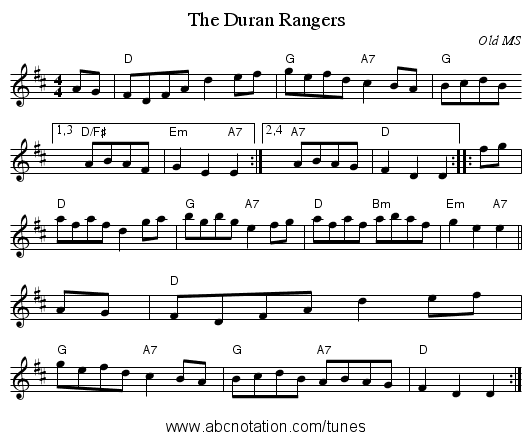 The Duran Rangers - staff notation