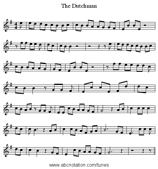 The Dutchman - staff notation