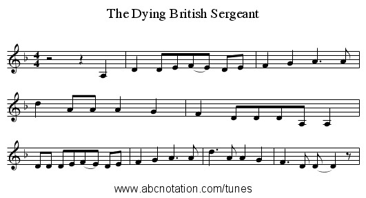 The Dying British Sergeant - staff notation