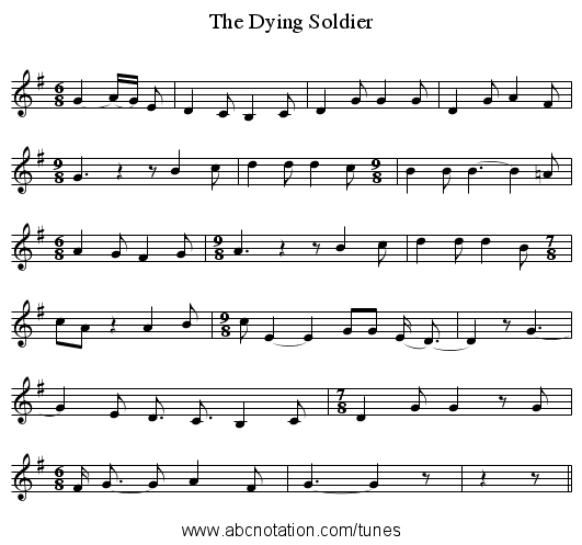 The Dying Soldier - staff notation