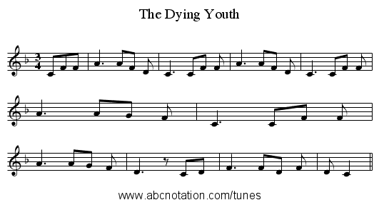 The Dying Youth - staff notation