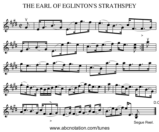THE EARL OF EGLINTON'S STRATHSPEY - staff notation