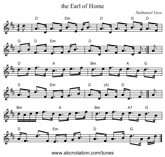 the Earl of Home - staff notation