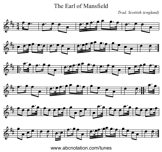 The Earl of Mansfield - staff notation