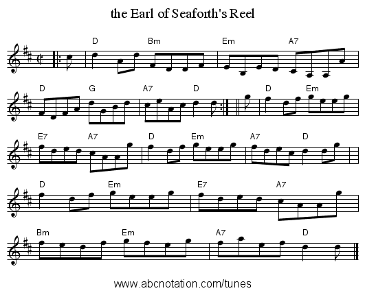 the Earl of Seaforth's Reel - staff notation