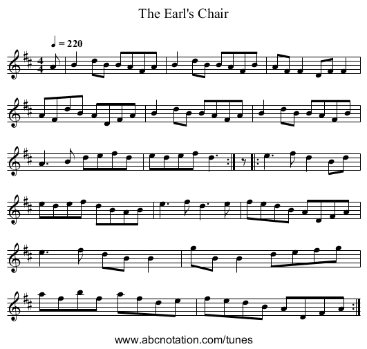 The Earl's Chair - staff notation