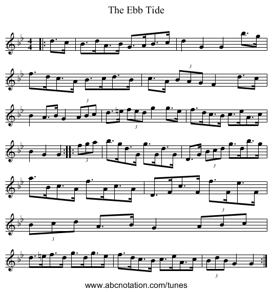 The Ebb Tide - staff notation