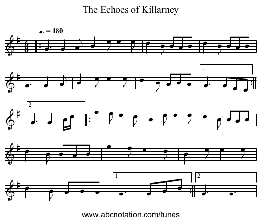 The Echoes of Killarney - staff notation