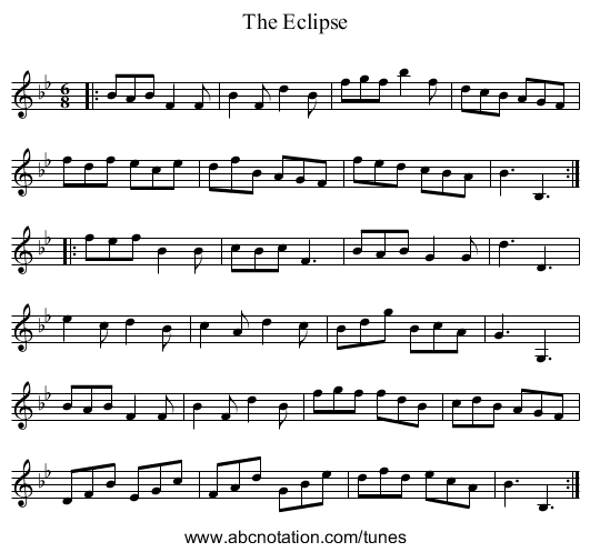 The Eclipse - staff notation