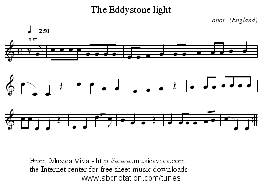 The Eddystone light - staff notation