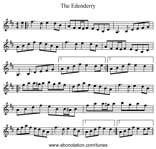 The Edenderry - staff notation