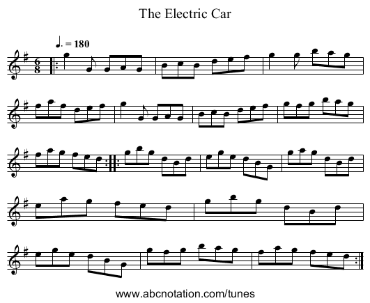 The Electric Car - staff notation