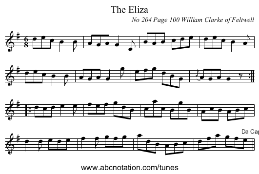 The Eliza - staff notation