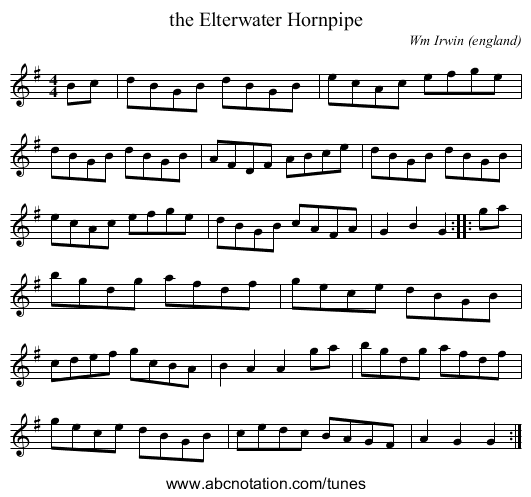 the Elterwater Hornpipe - staff notation
