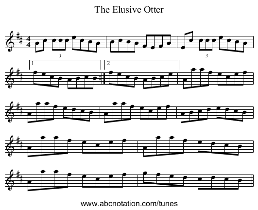 The Elusive Otter - staff notation