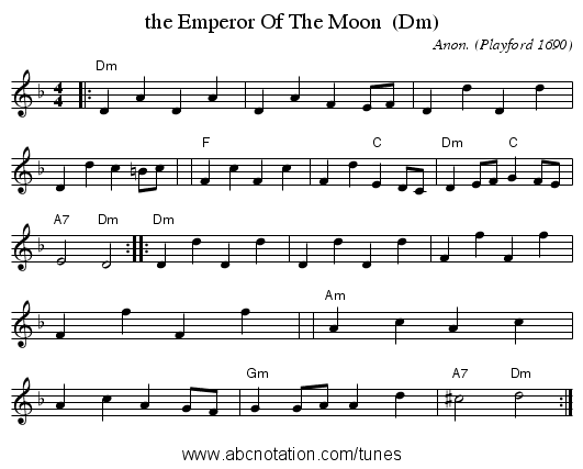 the Emperor Of The Moon  (Dm) - staff notation
