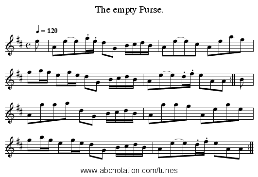 The empty Purse. - staff notation