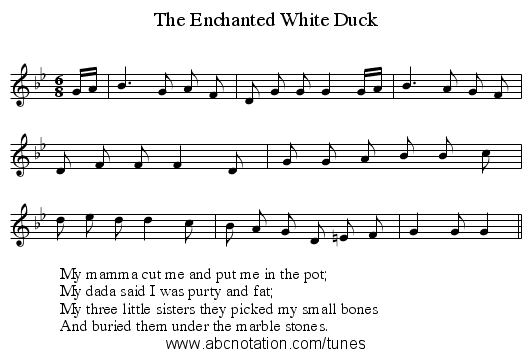 The Enchanted White Duck - staff notation