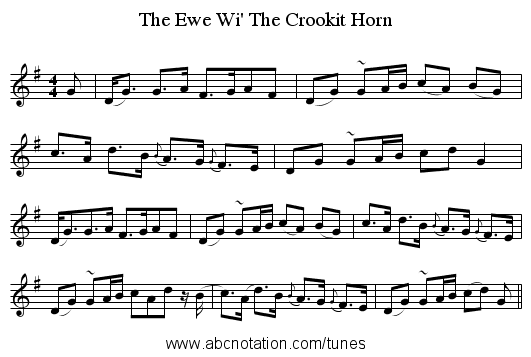 The Ewe Wi' The Crookit Horn - staff notation