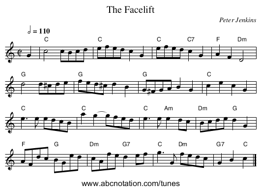 The Facelift - staff notation