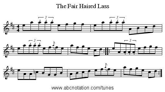 The Fair Haired Lass - staff notation
