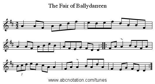 The Fair of Ballydarreen - staff notation