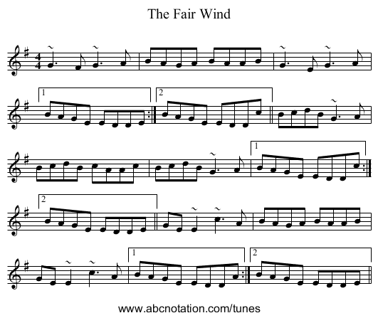 The Fair Wind - staff notation