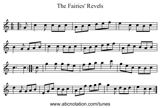 The Fairies' Revels - staff notation