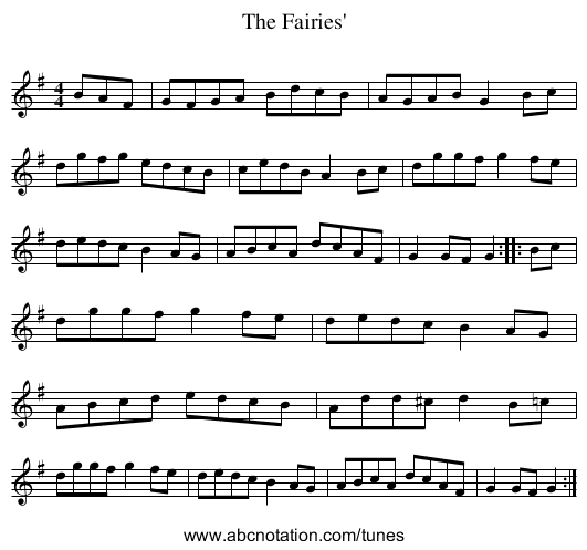 The Fairies' - staff notation