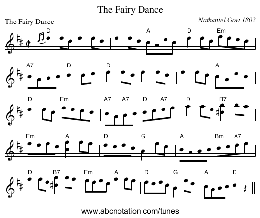 The Fairy Dance - staff notation