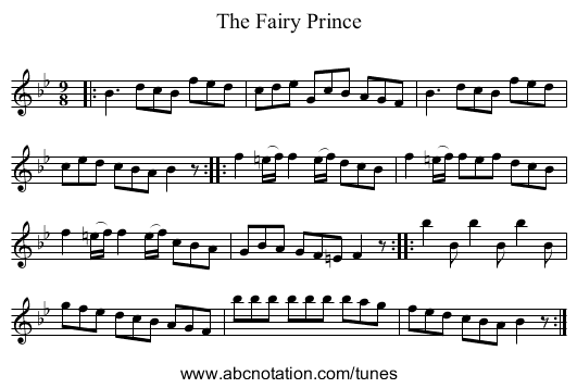 The Fairy Prince - staff notation