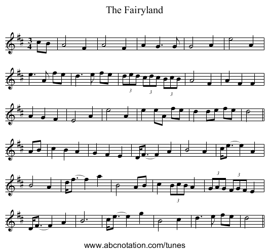 The Fairyland - staff notation
