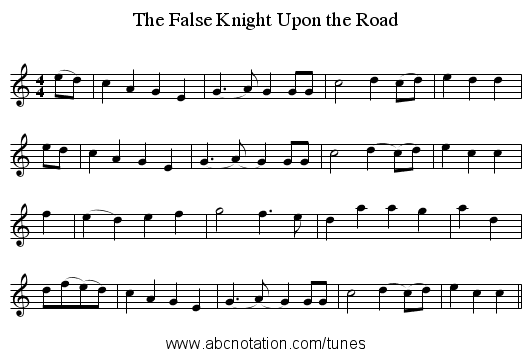 The False Knight Upon the Road - staff notation