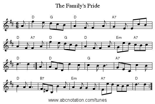 The Family's Pride - staff notation