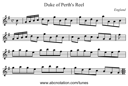 the Famous Derbyshire Hornpipe - staff notation