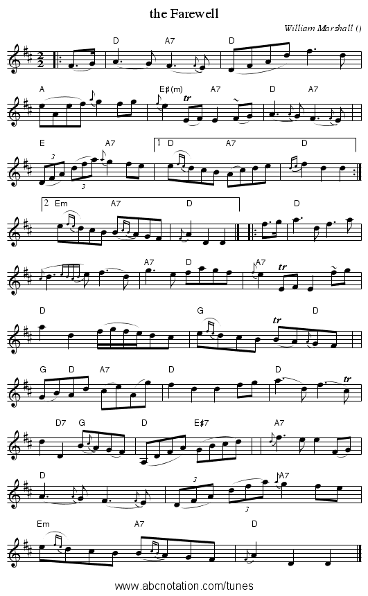 the Farewell - staff notation
