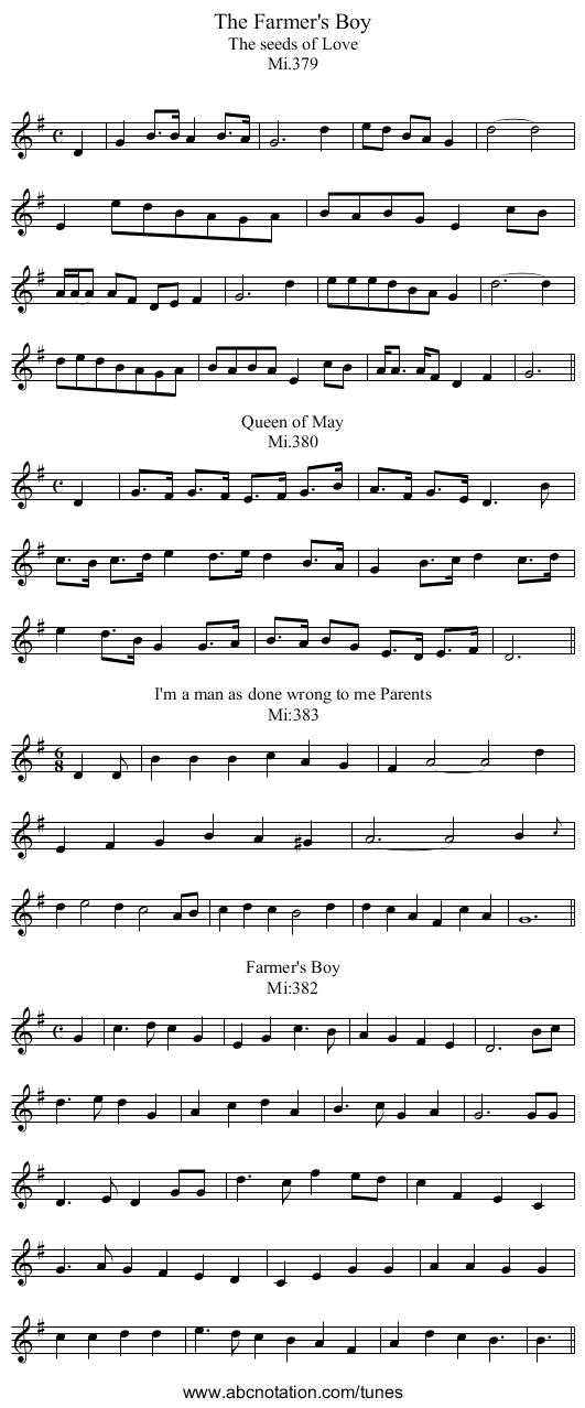 The Farmer's Boy - staff notation