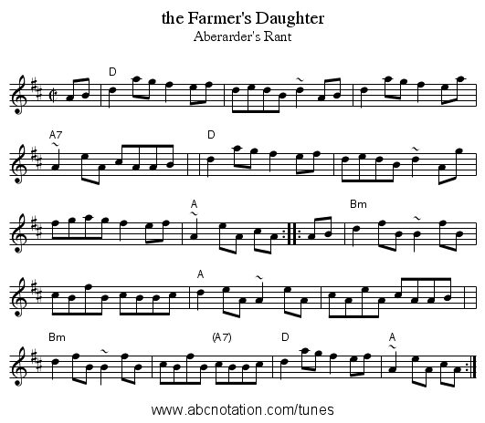 the Farmer's Daughter - staff notation