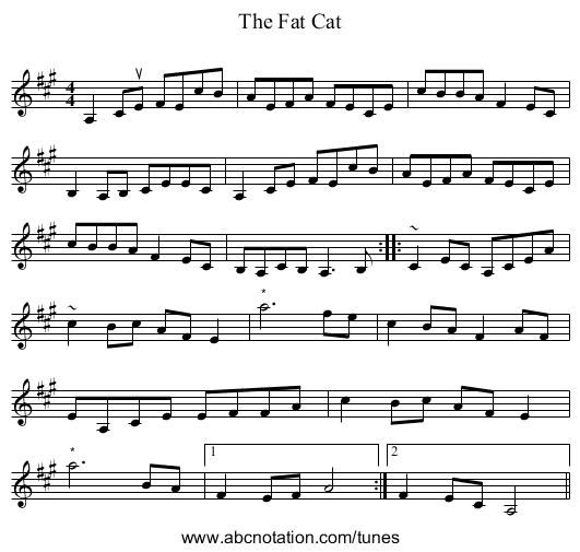 The Fat Cat - staff notation
