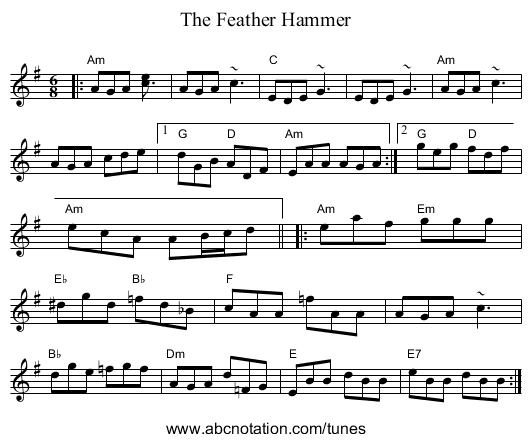 The Feather Hammer - staff notation