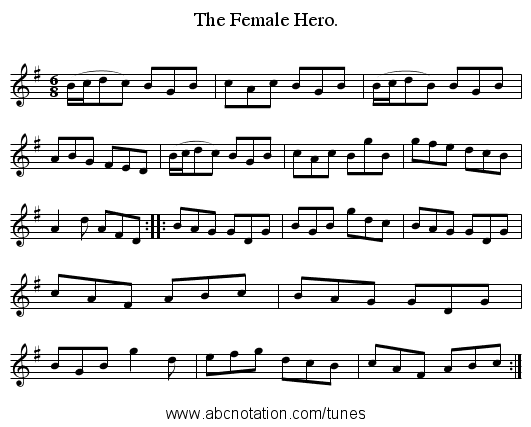 The Female Hero. - staff notation