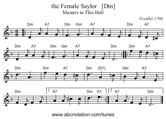 the Female Saylor   [Dm] - staff notation