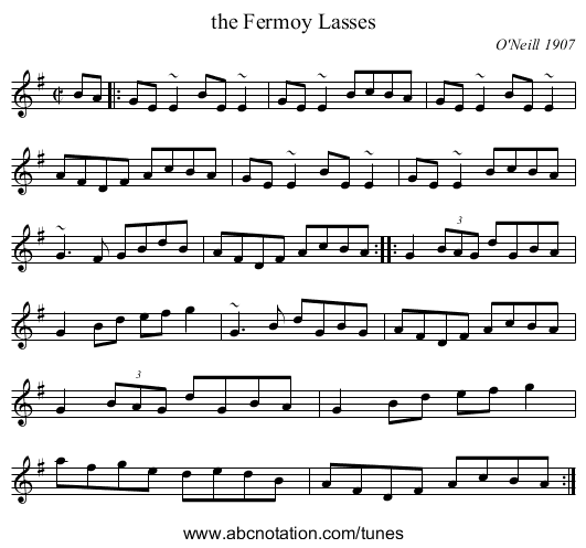 the Fermoy Lasses - staff notation